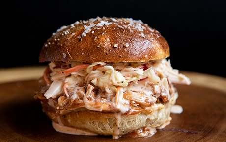 BBQ Pulled Chicken with Spicy Cole Slaw
